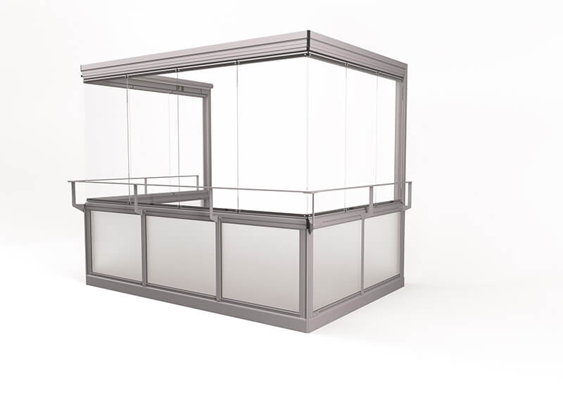 <span>Vision® Air</span> Glazing system with large, frameless windows and no corner posts.
