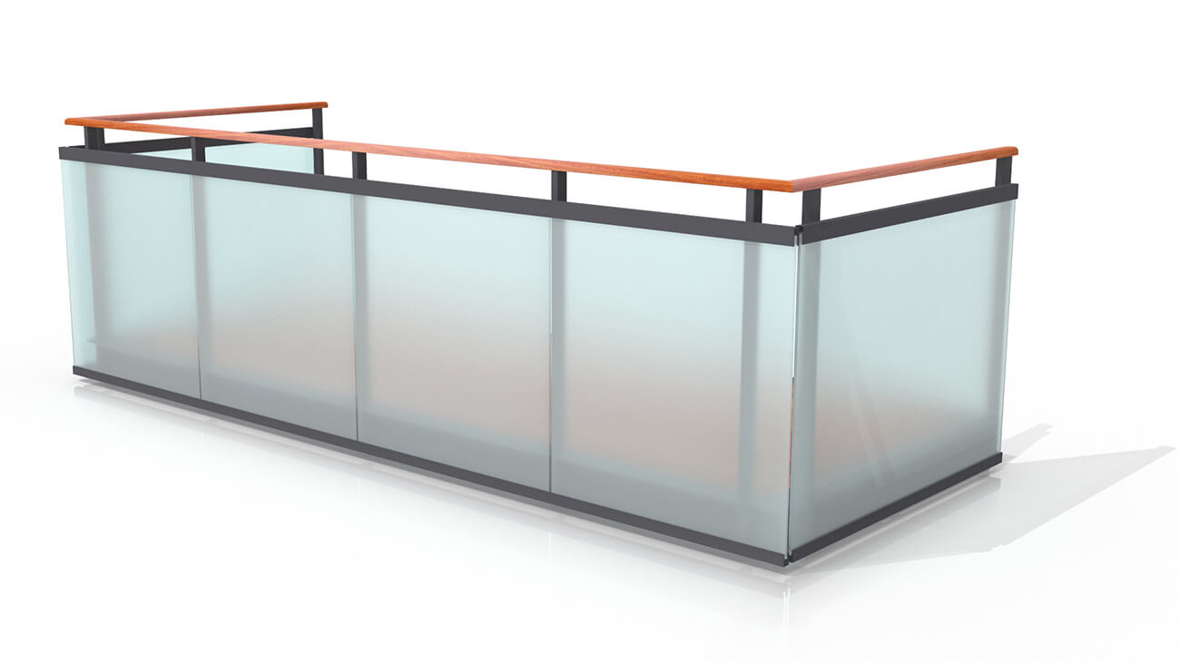 Railings made of tempered and laminated glass
