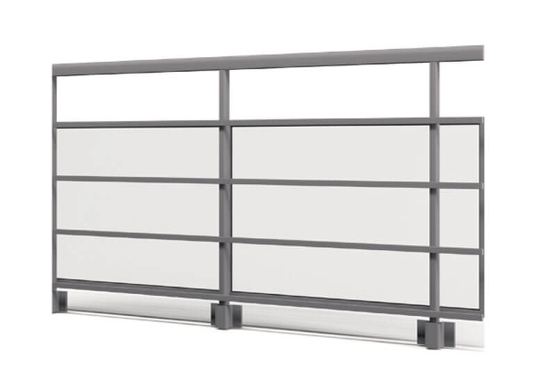 Aluminium railing – Internal glass with decorative tubing