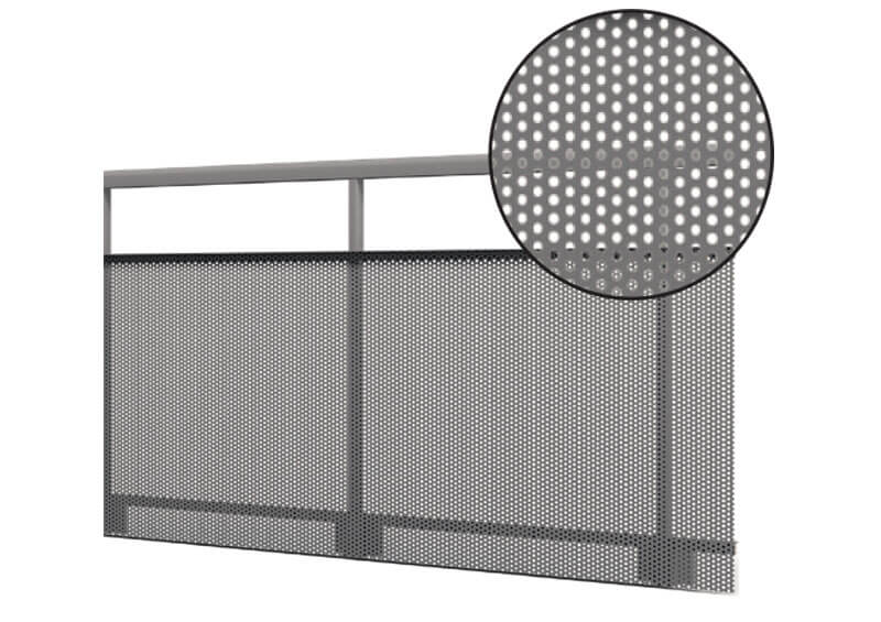 Aluminium railing – perforated sheeting
